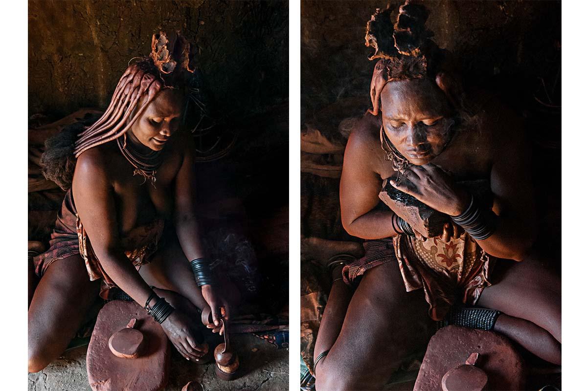 Himba Frau bei der Körperpflege