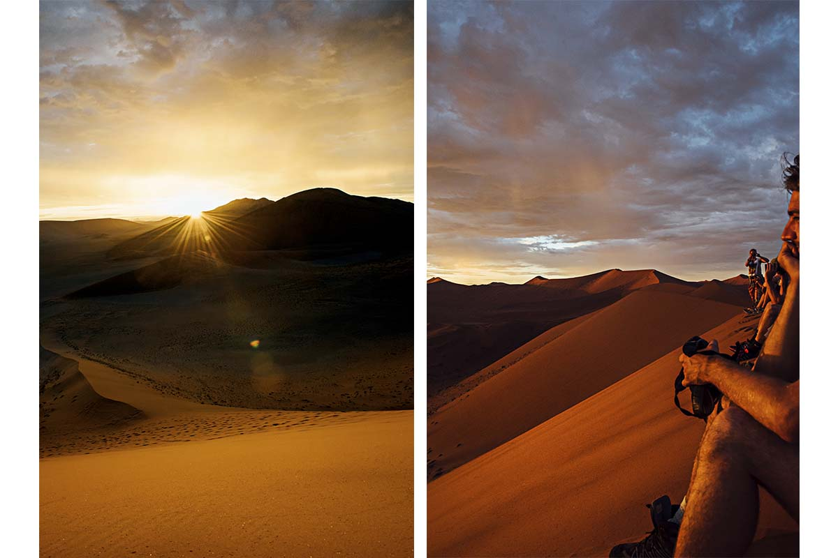 Sonnenaufgang auf Düne 45 in der Namib Wüste