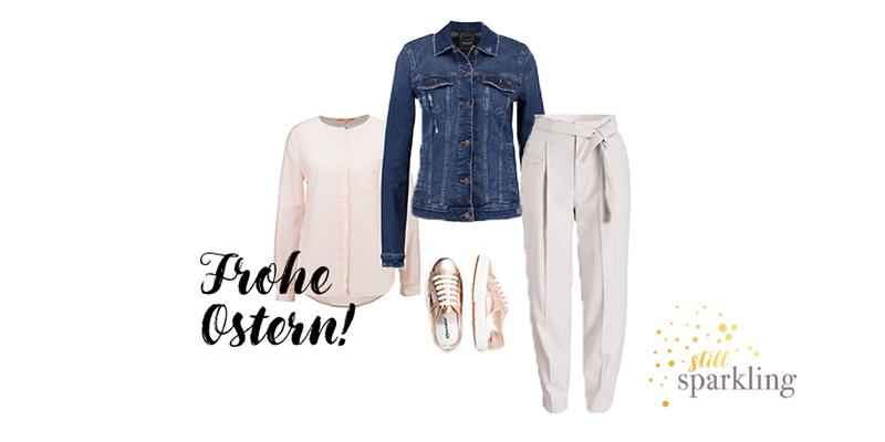 Jeansjacke, rosa Bluse, cremefarbene Hose und Supergas
