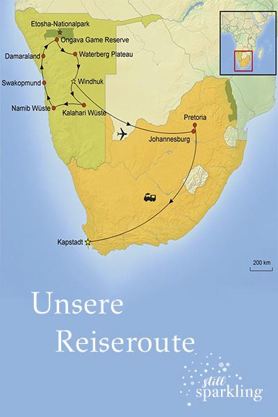 Reiseroute Namibia Rundreise Martina Klein Still Sparkling