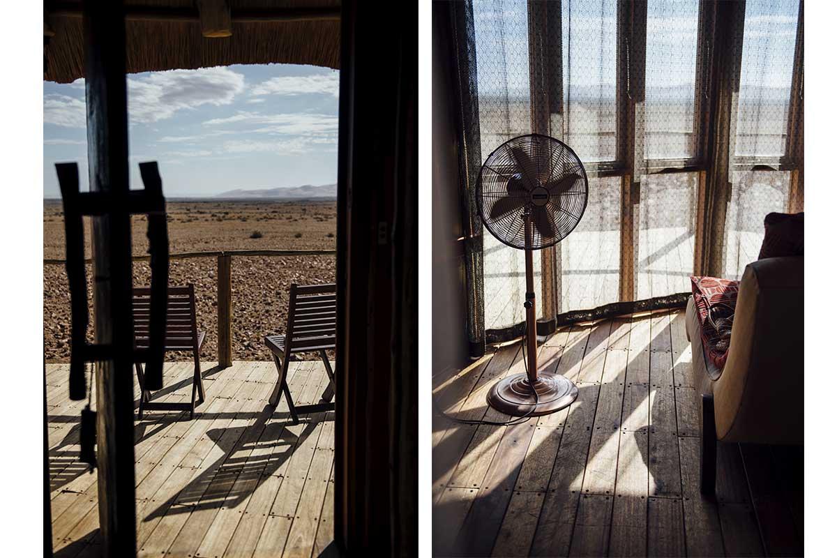 Aussicht und Zimmer in der Sossus Dune Lodge in Namibia